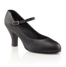 """Theatrical Footlight Black Character Shoe 3"""" Heel"""