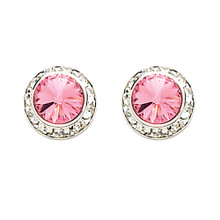 17MM Pink Swarovski Crystal Earrings w/ Surgical Steel Post