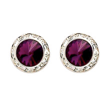 17MM Amethyst Swarovski Crystal Earrings w/ Surgical Steel Post