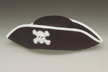 Black Pirate Felt Hat Skull & Crossbones