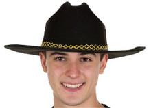 Black Felt Cowboy Hat w/ Yellow X Design
