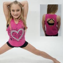Love Dance Shimmper Girl's Heart Back Tank Top