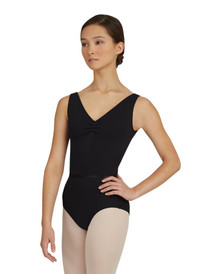 Capezio Black Pinch Front Leotard w/ Detachable Belt Size X-Large