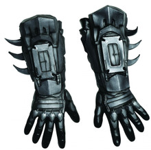 Batman Gloves Adult Deluxe Latex Silver Armour Looking