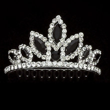 Tiara Comb Silver w/ Black Rhinestones