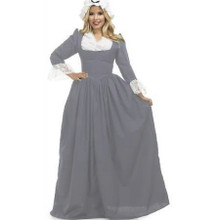 Colonial Woman Grey Dress & Bonnet (CH03173)