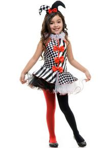 Clown Jester Girl's Black White & Red Tutu Dress & Headband