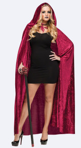"68"" Velvet Hooded Cape - Red"