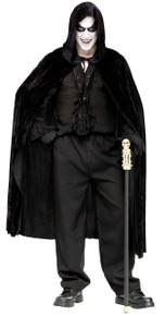 "68"" Velvet Hooded Cape - Black"