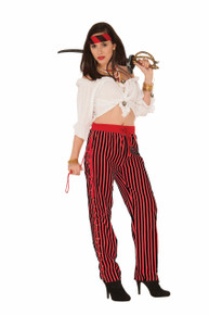 Pirate Pants Ladies Red/Black One Size