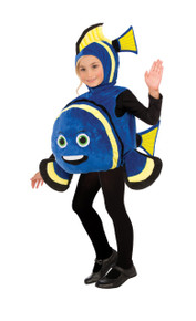 Blue Fish Costume for Kids with Yellow and Black Strips