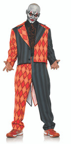 Thriller Adult Mens Plus Size Black & Orange Diamonds Skull & Crossbone Tuxedo Costume