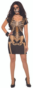 Bone Dress Front and Back Skeleton Print Above Knees