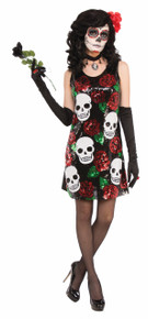 Day of the Dead Skull & Rose Dress Above the Knees