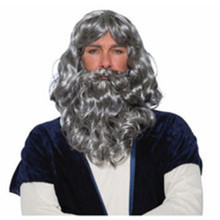 Biblical Wig and Beard Set Grey