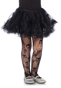 Girl's Skull Net Tights
