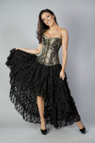 Amelia Black Lace Long Burlesque Skirt