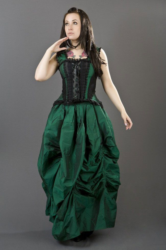 Burlesque Vintage Style Ballgown Skirt in Green Taffeta ...