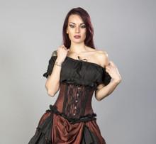 Elizium Brass Taffeta & Black Lace Underbust Corset