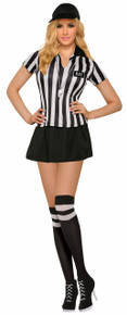 Sexy Referee Ladies Costume Top, Skirt, Cap, Knee Highs