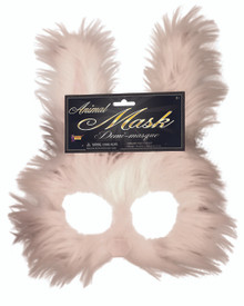 Bunny Mask Frontal Only White Fur Pink Nose