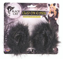 Black Cat Clip on Ears with Fur