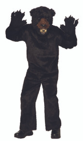 Bear Mascot Costume Black Adults Headpiece, Jumpsuit, and Mitts