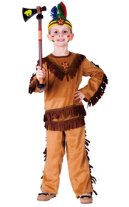 Native American Indian Warrior Boy Costume 3pc