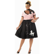 50's Sweetheart Plus Size Black & Pink Poodle Skirt Dress