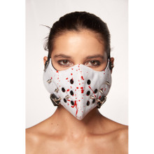 White Muzzle Mask with Silver Spikes Studs and Blood Splatter