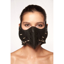 Black Muzzle Mask with Silver Studded Spikes