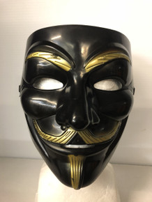Black Fawkes Mask A Full Face Black & Gold V for Vendetta Mask