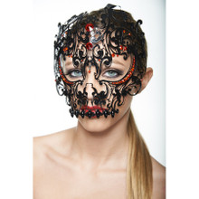 Black Laser Cut Skull Metal Venetian Mask with Red Stones