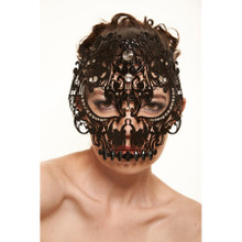 Black Laser Cut Skull Metal Venetian Mask with Clear Stones