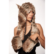 Brown Wolf Nature Hoodie with built in Mitts