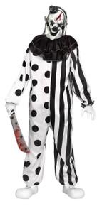 Killer Clown Black & White Teen Costume with Mask