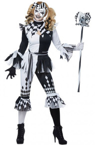 Crazy Jester Costume Black and White