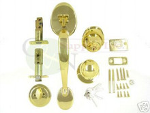 Keyed Alike Polished Brass Entry Door Handleset - New!!