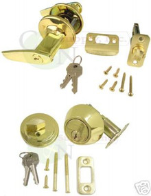 New Keyed Alike Entry Lever + Deadbolt - Kwikset Keyway N-E-3 + 700KA