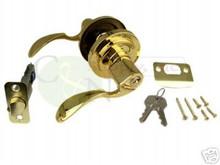 Santa Fe Keyed Alike Entry Lever Lock, Polish Brass New