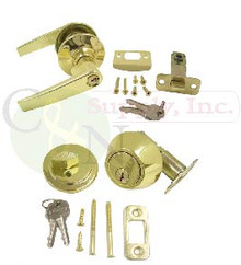 Keyed Alike Entry Lever Lock + Deadbolt --- Brand New!!