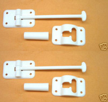 2 RV Camper Door Holder w/ Stop, White