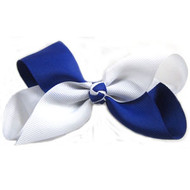 CLIP BOW WHITE + ROYAL BLUE