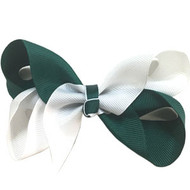 CLIP BOW WHITE + HUNTER GREEN