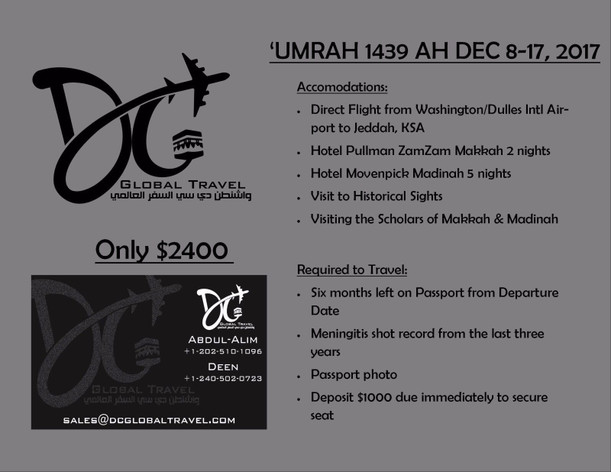 Global Travel Umrah 1439 / Dec.8th to Dec. 17th 2017