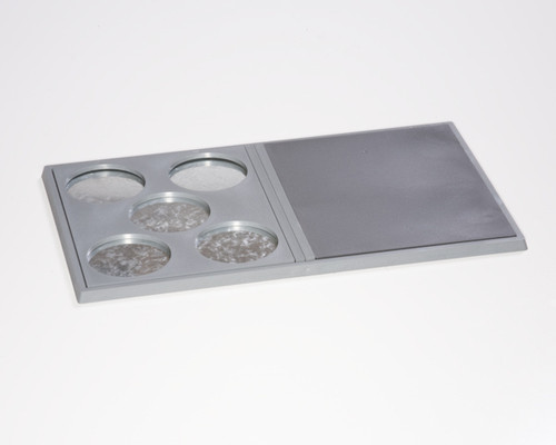 Double-wide Bottom Unit Tray example with two Tray Toppers inserted (sold separately - 5x50 PP Topper & Solid Topper)
