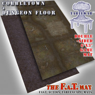 6x3' Dbl Sided 'Cobbletown + Dungeon Floor' F.A.T. Mat Gaming Mat