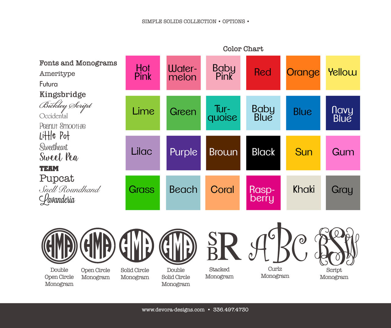 Monograms and Fonts Options Sheet
