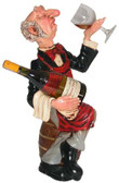 Connoisseur Waiter Sitting on Barrel Statue Wine Holder