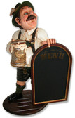 German Beer Drinker Statue with Menu
